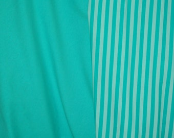 Teal and aqua stripes and matching solid 2 yards total New CL