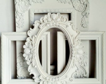 Set of 4 Cottage White Wedding Ornate Wall Gallery Vintage Inspired Empty Frames Oval Baby Shower Nursery Bling Shabby Chic Home Decor Gift