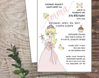 Princess birthday party invitation tiara butterflies cupcakes little girl party 5th birthday