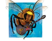 Bee Bee King Blank Card - humorous, word-play, whimsical, pen and ink, digital, bee, funny, pun, humor