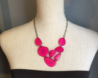 Hot pink ecofriendly bib necklace Ready to ship