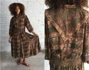 vintage Diane Freis dress / drapey goddess dress / boho dress hippy dress festival dress