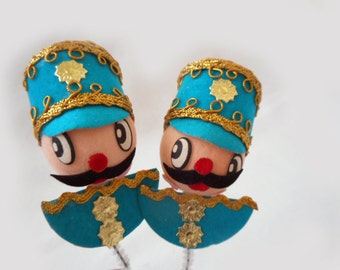 Shiny Brite Toy Soldier Picks Spun Cotton Heads Turquoise Blue Ornaments Tie Ons Gift Decorations 1960s Christmas Decor Pipe Cleaner Stem