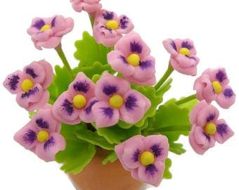 Pansy Miniature Polymer Clay Flowers Supply Dollhouse Collection 1 piece