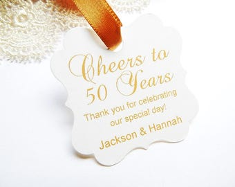Cheers to 50 Years Golden Anniversary Personalized 50th Wedding Anniversary Tags