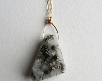 Pyrite and Quartz Crystal Necklace with Gold Filled - Handmade in Seattle