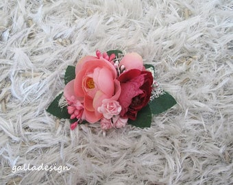 Beach wedding pink flowers hair comb, bridesmaid gift, Floral hair piece, Bridal  accessory, pettine sposa, mother's day gift