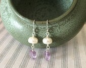 ON SALE Amethyst and Pearl Earrings, White Rondelle Pearl, Amethyst, Dangle Earrings, Purple and White, June February Birthstone Earrings