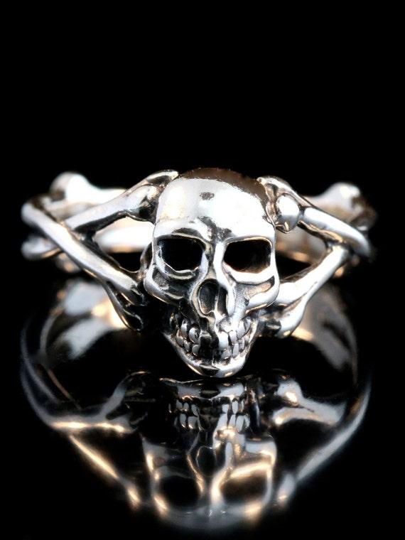 Skull Ring Silver Skull and Crossbone Ring Silver Skull Biker Ring Gothic Ring Steampunk Ring