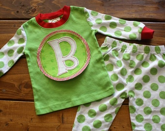 Christmas Pajamas, Kids Christmas Pajamas, Monogram Shirt, Striped Pajamas, Family Pajamas, Personalized Pajamas, Newborn Gown