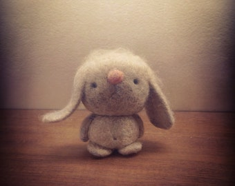 Needle Felted One of a Kind cashmere and camel hair Sad Bunny