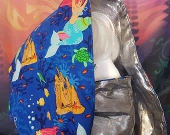 Mermaids Treasure COWL Hood Infinity Scarf reversible