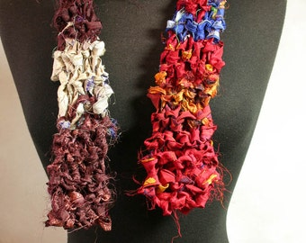 Hand Knit Recycled Sari Silk Scarf Multi-Color Burgundy Red Orange Gold OOAK Gift for Her