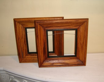 "OAK Wood Picture FRAMES Square 6.25"" Glass vintage pair 2 old vintage antique"