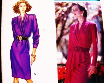 Vintage Mock Wrap Dress Pattern Misses size 12 14 16 Mock Wrap Top Dress with Draped Front Ruffle Overlay Sewing Pattern UNCUT FF