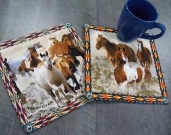 Mug Rugs Wild Horses Southwest Design Handmade Coasters Trivets Linens