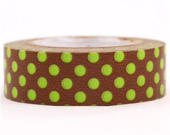 189813 brown mt Washi Masking Tape deco tape with green polka dots