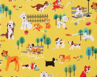 204915 chartreuse colorful dog fabric by StudioE 'Dog Park'