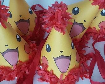 Pikachu party hats, Pokémon Party hats, birthday party hats, Pokémon go party, Pokemon party , Pikachu birthday party, ash and pikachu