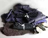 Leather Scraps, Purple Plum Eggplant Brown Black Embossed Textured Leather Scraps, Novelty Hide Skin Scraps Remnants