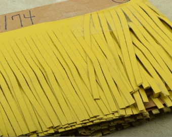 yellow Leather Fringe for embellishment of purses , jackets or other accessories, sold by ft (30 cm) - C1026/74