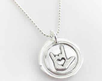 ASL I Love You Symbol Wax Seal Inspired Necklace - handmade, fine silver