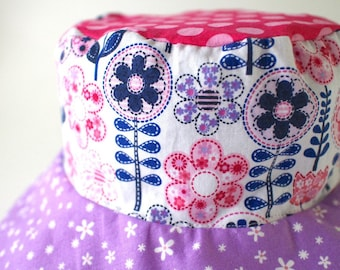 Pink and purple bucket hat, colorful sun protection hat with flowers, reversible sun hat for girls