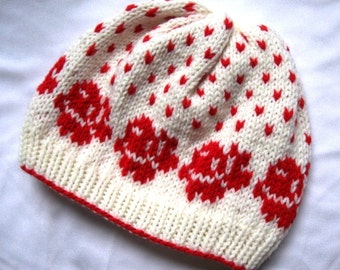 Rose Pattern beanie - Red and off white, hand-made hat, ski hat, winter hat, beanie for women, cute pattern knitted hat, flower pattern hat