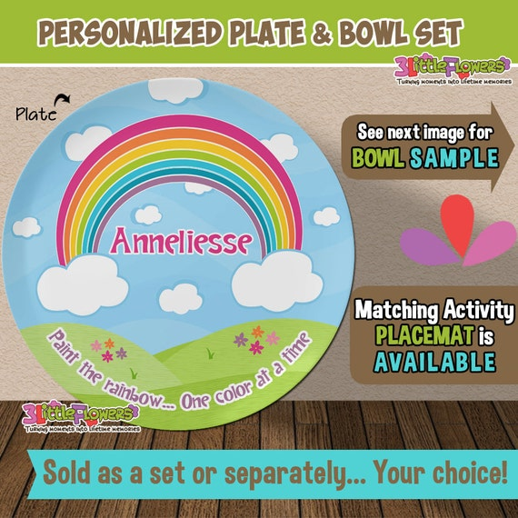 Il_570xn  sc 1 st  Catch My Party & Personalized Rainbow Plate and Bowl Set - Personalized Plastic ...