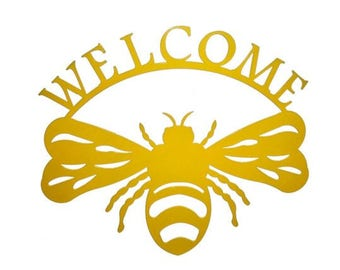 Bumble Bee Welcome Sign Metal Wall Art (N)