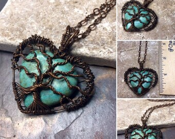 Turquoise Magnesite Heart Gemstone Tree of Life Copper Wire Wrapped Necklace, Gift, Inspirational, Wedding, Jewelry,Birthday, Love, Sister