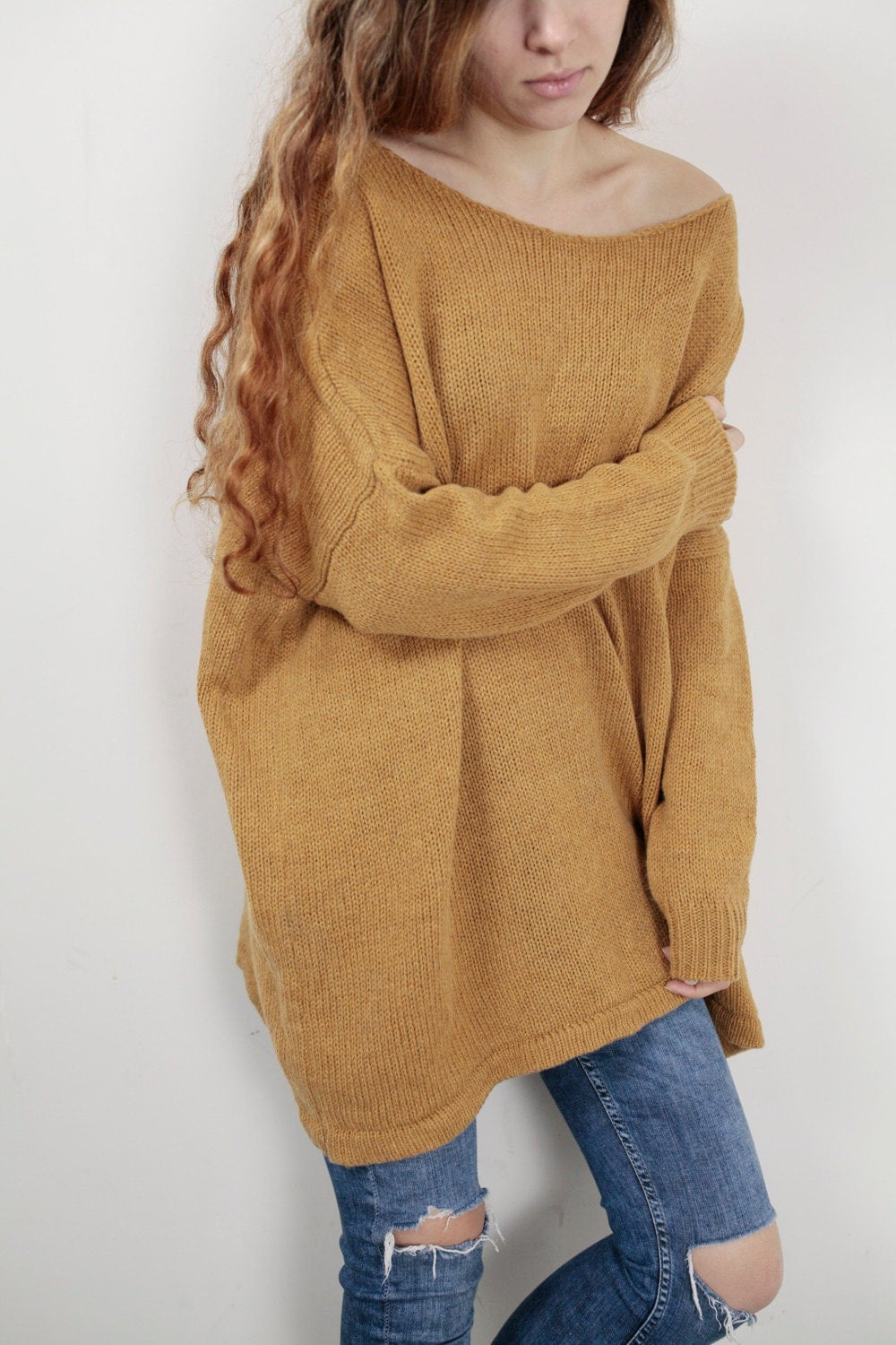 OVERSIZED knit Woman sweater Mustard pullover wool sweater