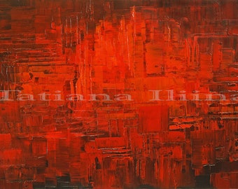Ruby red abstract fine art giclee print on CANVAS of original home decor painting INTERNAL by Tatiana Iliina