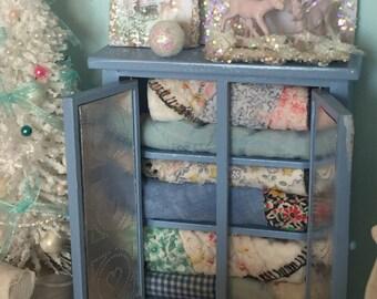 Miniature Dollhouse Quilt Hutch and Chrisymas vignette-1:12 scale