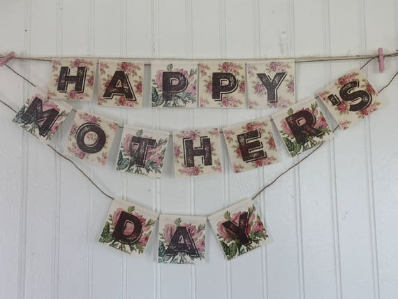 Cottage Vintage Roses Happy Mothers Day Banner and Planner cards