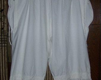 NEW YEAR SALE Womens Vintage Edwardian  Eyelet White Cotton Drawers/ Bloomers Large