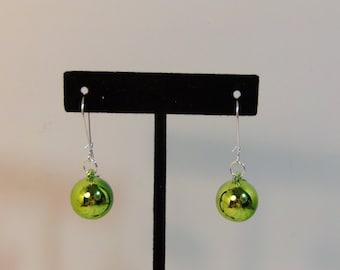 Green Christmas Ornaments Dangle Pierced Earrings