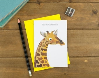 You're Wonderful - Giraffe Greetings Card