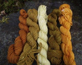 Yarn kit Merino wool Baby alpaca, Silk ,hand dyed DK sport yarn kit--October