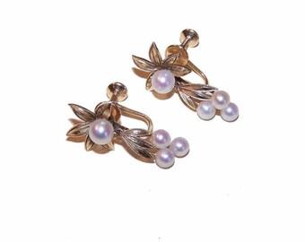 Vintage MIKIMOTO,Mikimoto,14K Gold Earrings,Cultured Pearl Earrings,Mikimoto Earrings,14K Gold,Cultured Pearls,Screwback Earrings