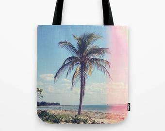 Palm Tree Light Leak Color Photo Tote Bag