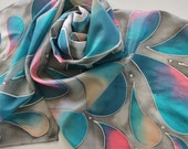 Hand Painted Silk Scarf - Handpainted Scarves Gray Grey Silver Teal Green Turquoise Blue Coral Pink Peach Tan White