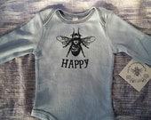 Long sleeve Baby Onesie/ Thermal Onesie/ Bodysuit/ Bee Happy/ Newborn/ Baby Shower Gift/ Twins/Light Blue/ Navy/ Screen Printed/ Thermal/Bee