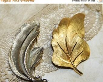 ON SALE Vintage BROOCH (2)- Bsk Signed- Leaf Pins- Flora- Gold & Silver Jewelry