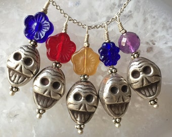 Day Of The Dead Necklace, Silver Skull, DOD Skull Pendant, Day of the Dead Necklace, DOD Jewelry, Day of the Dead Skull, DOD Charm