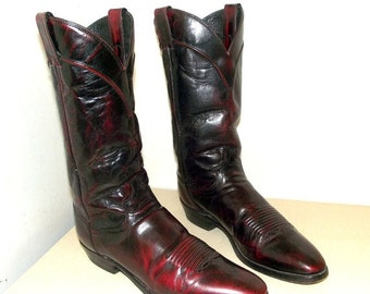 Gorgeous Deep Burgandy Leather cowboy boots size 10 B or cowgirl size 11 to 11.5