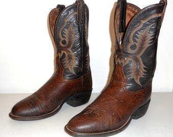 Tony Lama Cowboy Boots Mens 7.5 D Two Tone Brown Country Western Hillbilly Rock