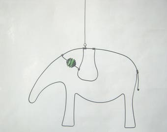 Wire Animal Sculpture / Green - Eyed Elephant For Your Wall Or Window