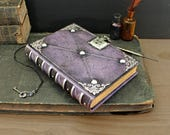 "Leather Journal with Lock and Key, Romantic diary, Silver decoration, ""Purple Dreams"""
