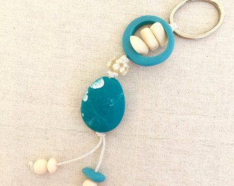 Key chain key ring assorted teal and cream resin beads and lampwork glass beads on cream cotton cord bag bling gift for her